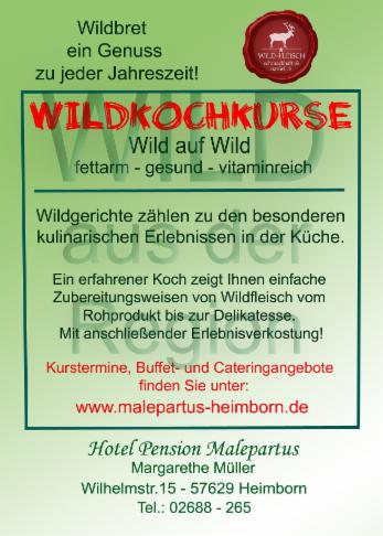 Wildkochkurs Flyer - Hotel Pension Malepartus